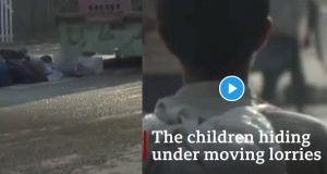 The Afghan children hiding under moving lorries