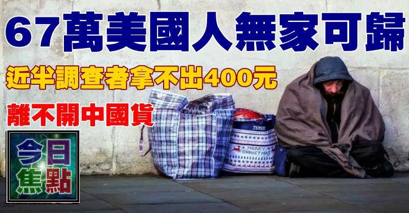 67萬美國人無家可歸,近半調查者拿不出400元,離不開中國貨