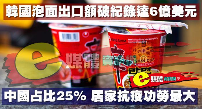 韓國泡麵出口額破紀錄達6億美元,中國占比25%,居家抗疫功勞最大