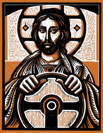 jesus holding a steering wheel in a stained glass look