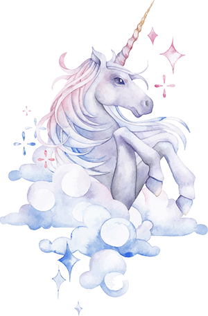 Magical-unicorn drawing with soft colors and fluffy clouds