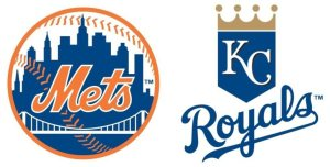 Logo of Major League Baseball teams New York Mets and Kansas City Royals. The teams are playing in the 2015 World Series.