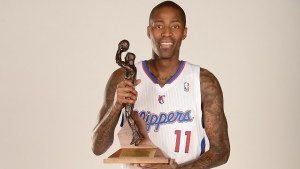 PLAYA VISTA, CA - MAY 8: Jamal Crawford #11 of the Los Angeles Clippers poses for a portrait after a press conference for being awarded Sixth Man of the Year at the Los Angeles Clippers Training Facility on May 8, 2014 in Playa Vista, California. NOTE TO USER: User expressly acknowledges and agrees that, by downloading and/or using this Photograph, user is consenting to the terms and conditions of the Getty Images License Agreement. Mandatory Copyright Notice: Copyright 2014 NBAE (Photo by Andrew D. Bernstein/NBAE via Getty Images)