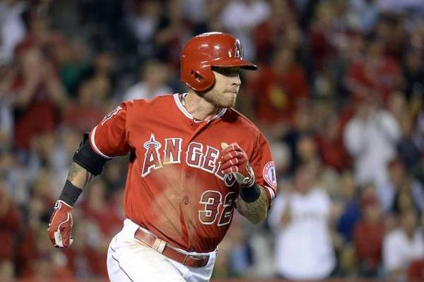 Los Angeles Angels outfielder Josh Hamilton running to first after driving in a run during a 2014 game against the Cleveland Indians