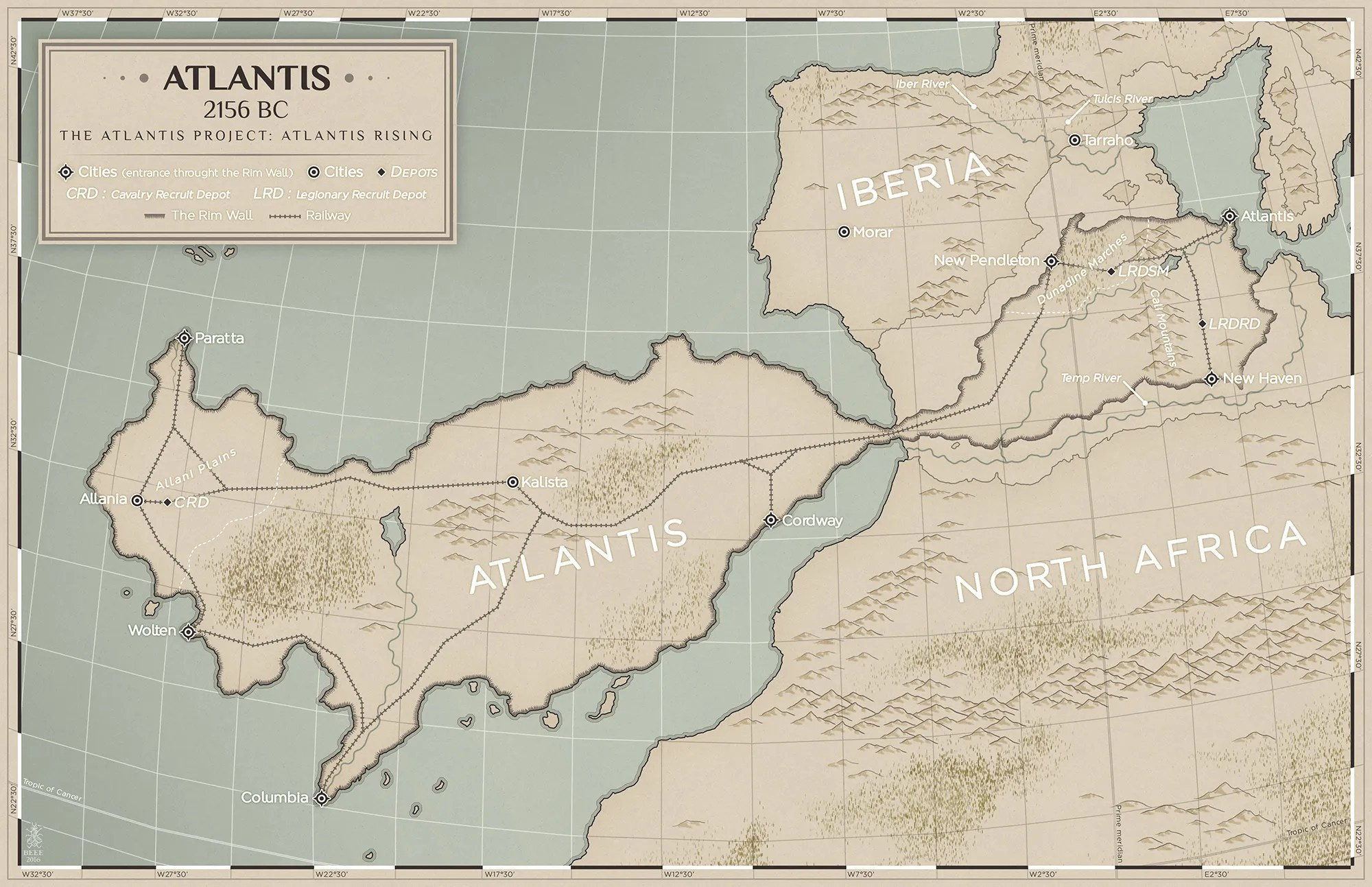 The Atlantis Project Series Atlantis Rising by Jake Parrick Map of Atlantis. The City of Atlantis is on the eastern coast. Epic Fantasy Book One of the Lightbearer Archive.