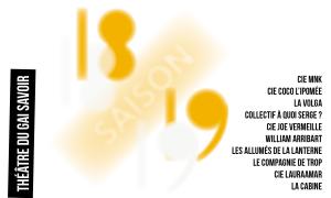 Spectacles saison 18/19 au Théâtre du Gai Savoir