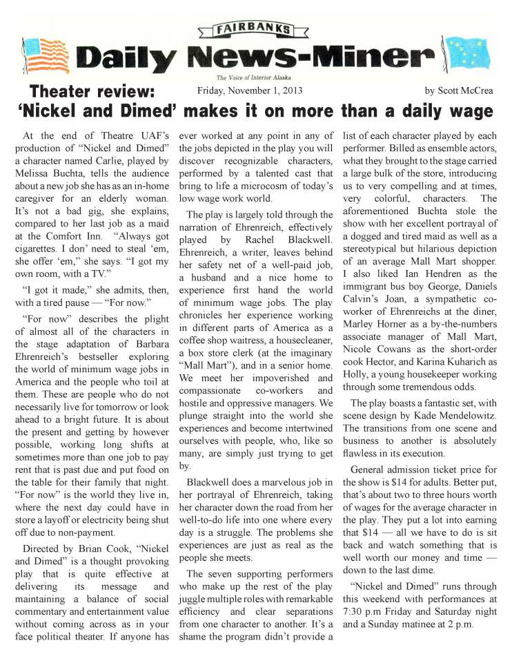 "Fairbanks Daily News-Miner review of ""Nickel and Dimed"""