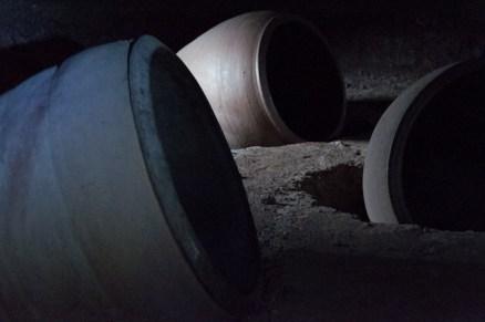 Earthenware jars under an outdoor noh stage, Sasayama Kasuga Jinja