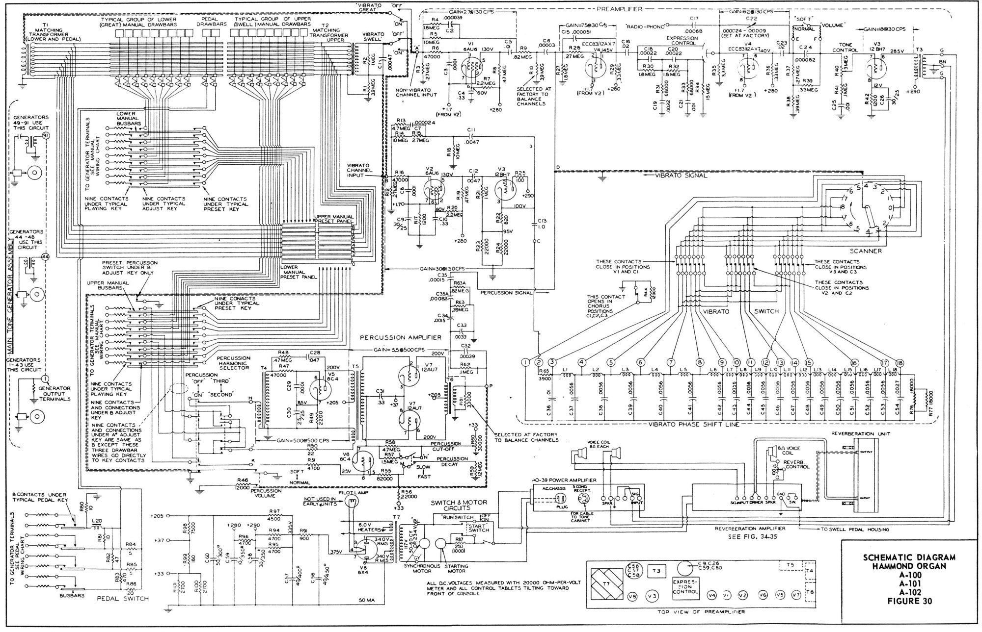 hight resolution of schematic 1 figure 30 hammond organ models a 100 a 101 a 102 schematic
