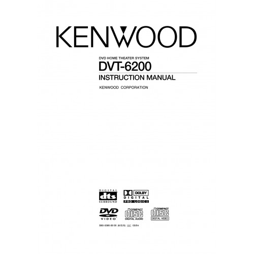 Kenwood DVT-6200 Home Theatre System Cinema Manual Pdf Viewer