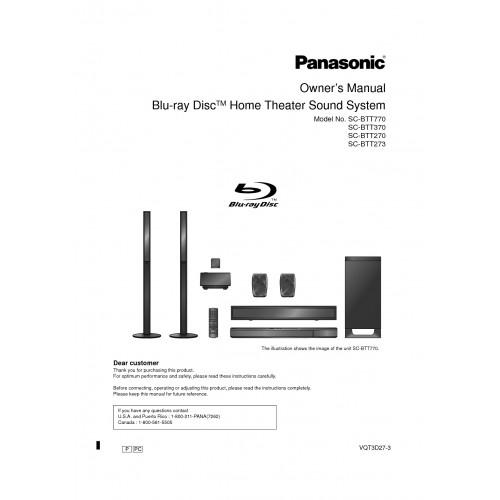 Panasonic SC-BTT270 Home Theatre System Cinema Manual Pdf