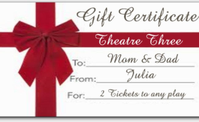 Purchase Gift Certificates For Theatre Three
