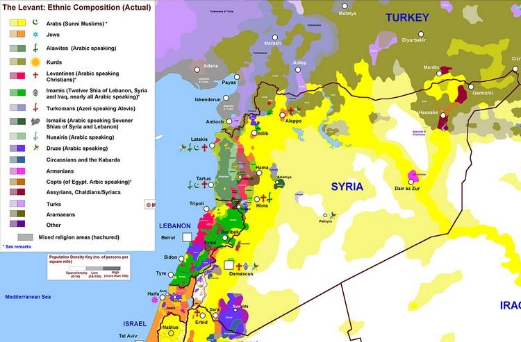 Carte ethnico-religieuse de la Syrie