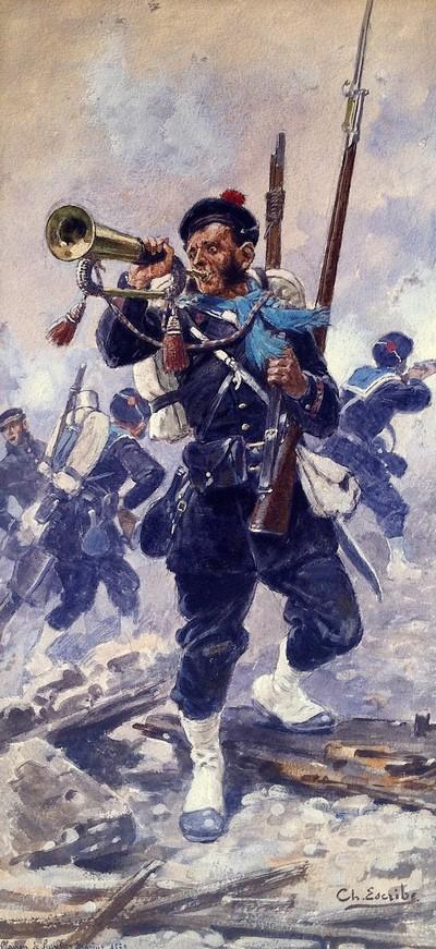Fusilier-marin en 1870. Illustration de Ch. Escribe.