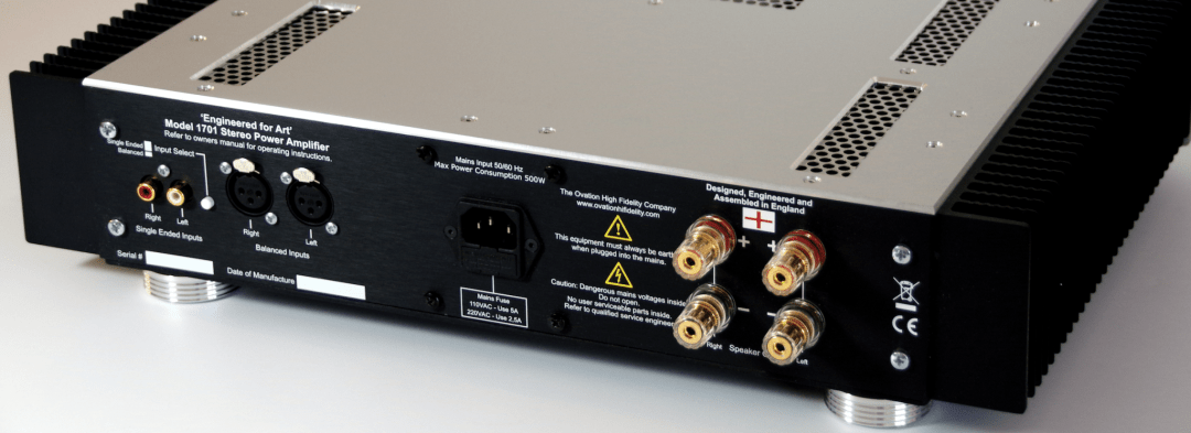 If you need to marry some power to your Pre, Paul Rigby may have the answer as he reviews the Model 1701 Ovation High Fidelity's 100W Current Mode Topology class AB power amplifier