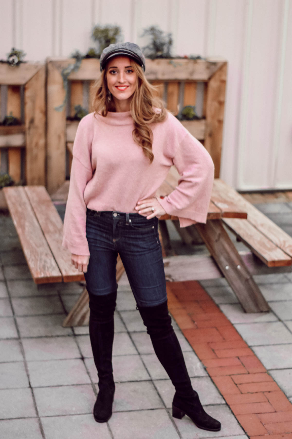 Pink Sweater Casual Friday News Cap Rag and Bone Over the knee Stuart Weitzman