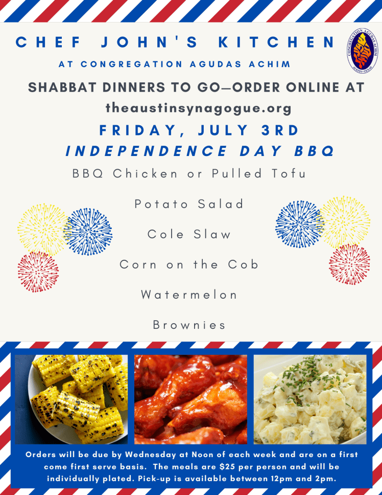 Shabbat Dinner Menu Flyer July 4 - 2