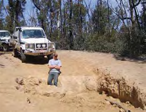 The Cobberas Trail damaged by feral horses literally eating the salt in the road surface. Parks Victoria ranger Rudi Pleschutschnig (who is well over six feet tall) stands in the hole.