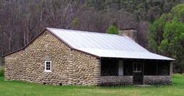 Restored stone hut at Geehi.
