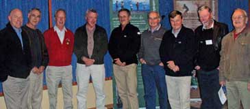 """Bruce Leaver is """"farewelled"""" by those attending the Alps Senior Advisors' discussion at Albury in August. From left to right, Peter Jacobs, Dave Darlington, Roger Good, Bruce, Peter Taylor, Bob Jones, Graeme Worboys, Brian Martin, Nev Gare."""