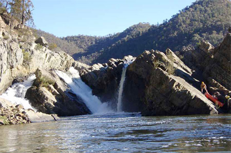 A staff reconnaissance trip on the Snowy River, negotiating Corrowong Falls