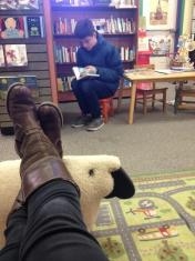 Both of us taking a break at a bookstore.