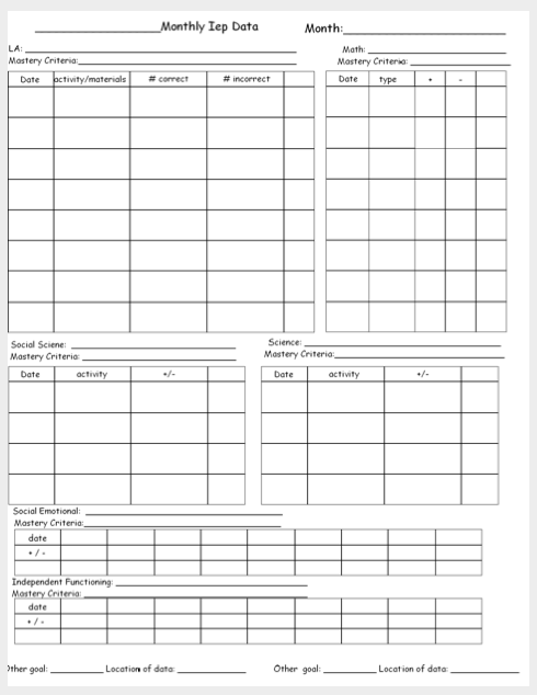 Blank Monthly Data Sheet Template Freebie The Autism