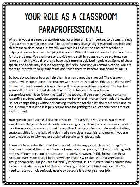 BTSE Paraprofessional Training Manual The Autism Helper