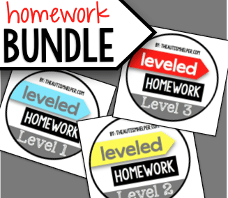 Leveled Homework {BUNDLE}