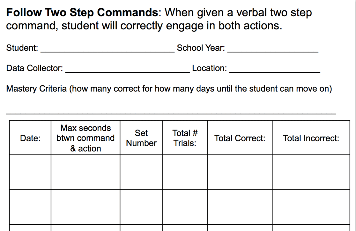 2 Step Directions Worksheet Autism
