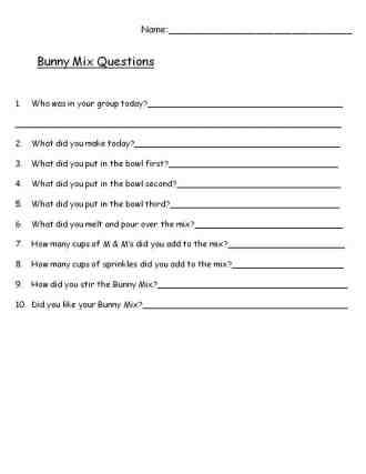 Bunny Mix Written Questions