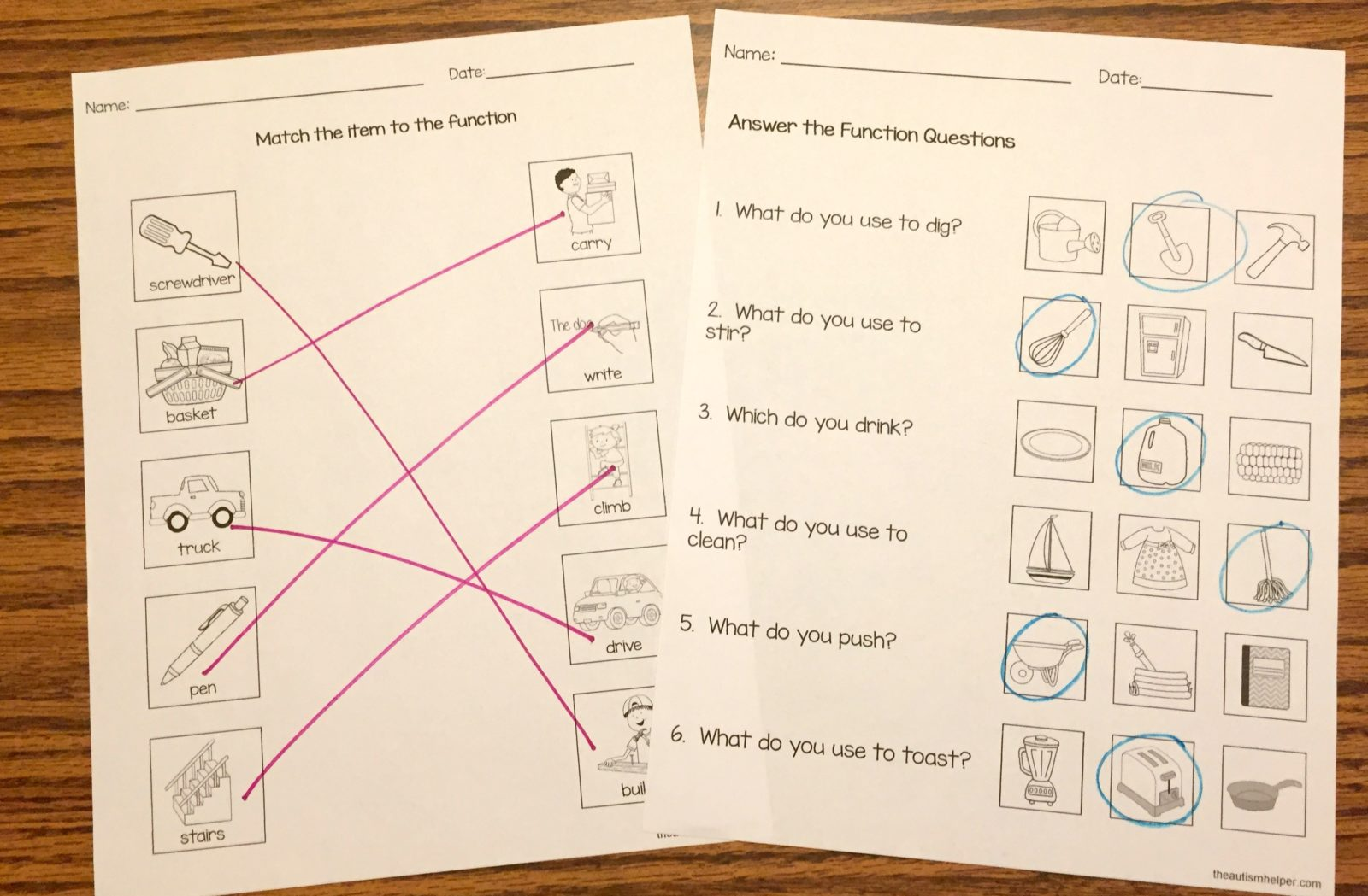 Free Function Worksheets - The Autism Helper