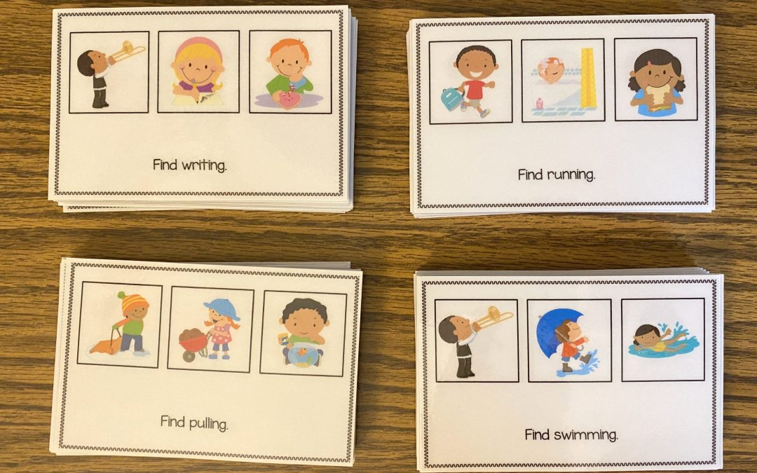 Receptive Present Progressive Verb Task Cards