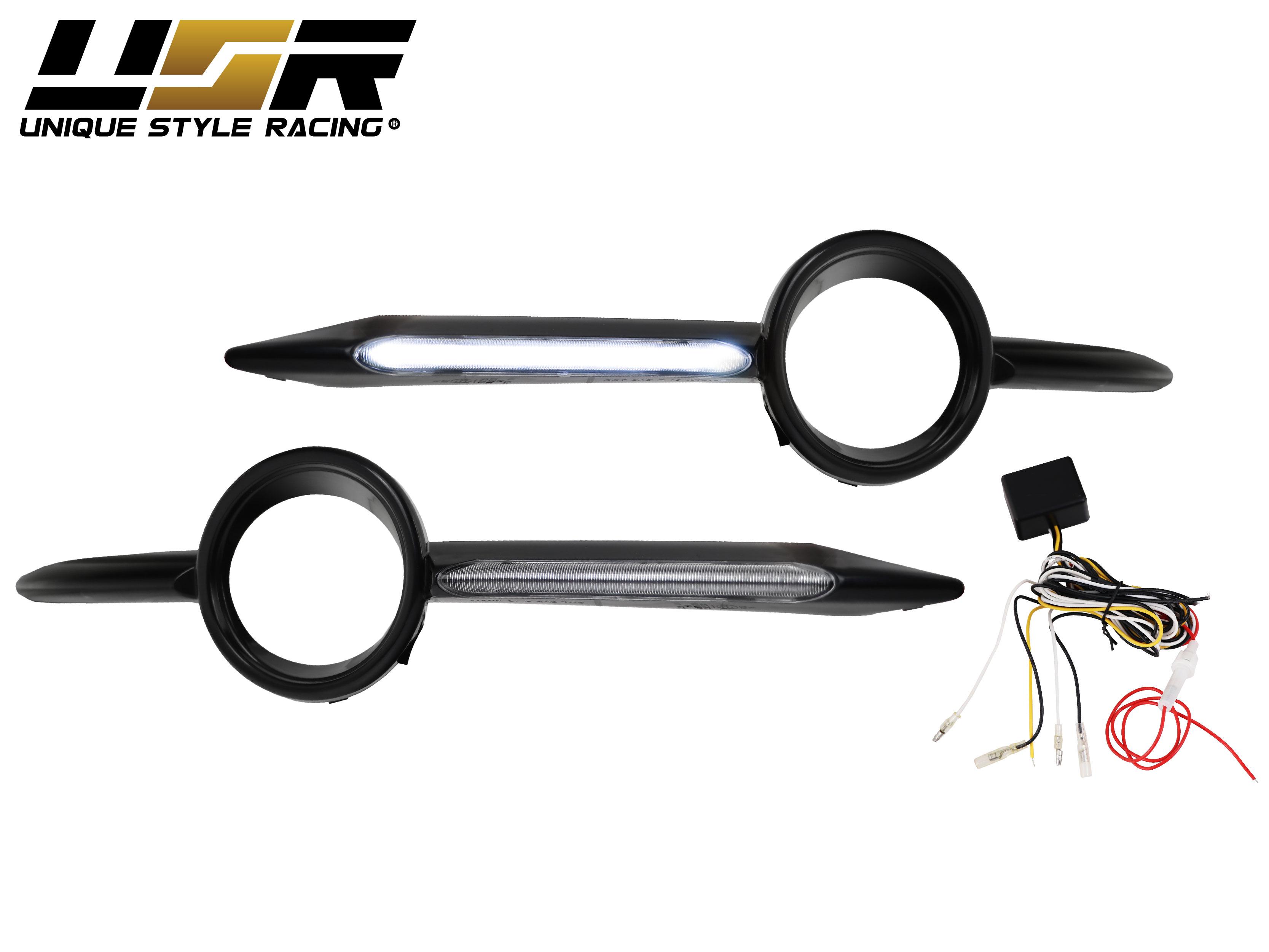 USA Facelift Clear LED DRL Light Bar Fog Light Trim For 06