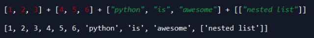 python concatenate lists