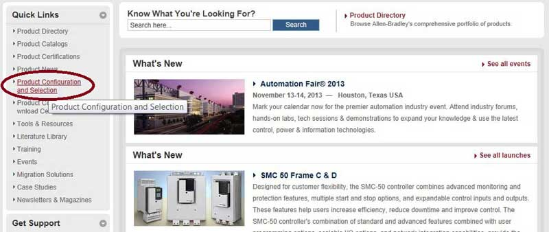 Rockwell Automation and Allen-Bradley (A-B) Online Product Catalog