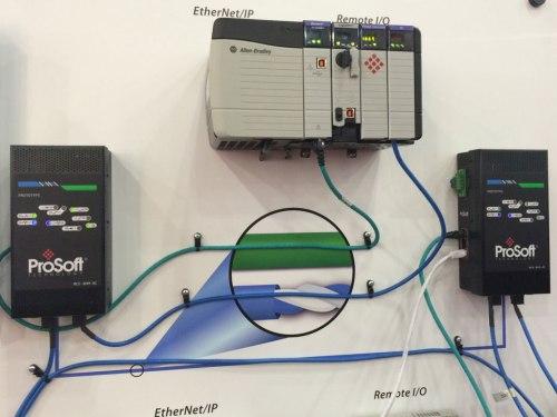 Prosoft Ethernet over Blue Hose Closeup at Automation Fair 2013
