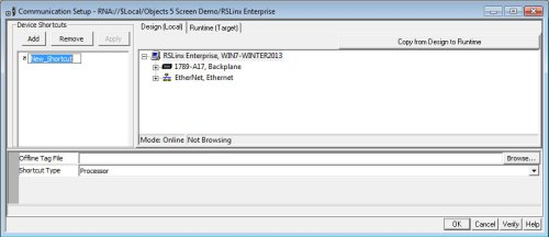 RSLinx Enterprise Communications Setup Window