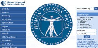 Human Factors and Ergonomics Society Homepage with Prize Logo