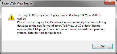How to migrate FactoryTalk View projects to Windows 7 64 bit
