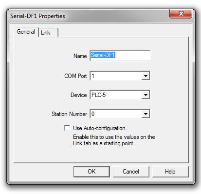 RSLinx Enterprise Add DF1 Serial Tab 1