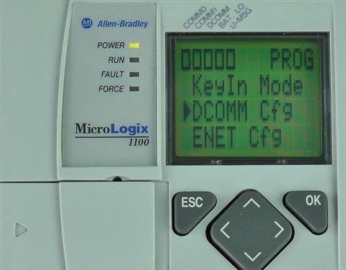 MicroLogix-1100-LCD-Advanced-Menu-DCOMM-Selected