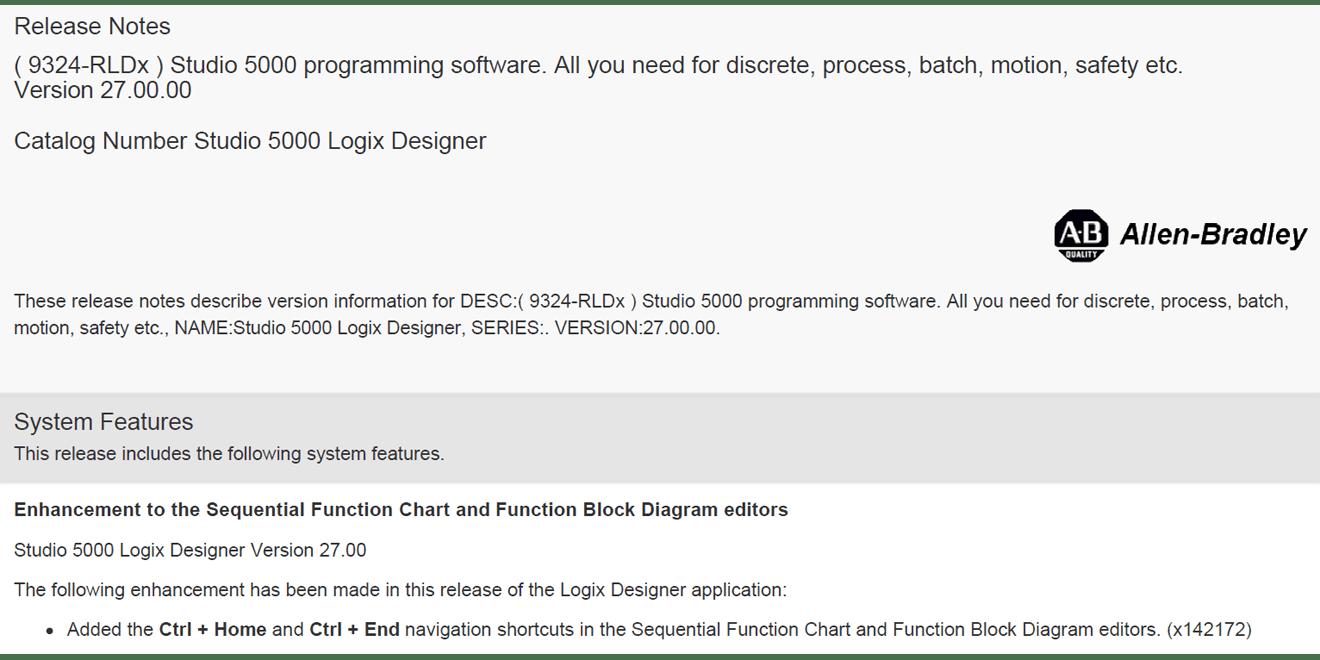 Studio 5000 Logix Designer Version 27 Released