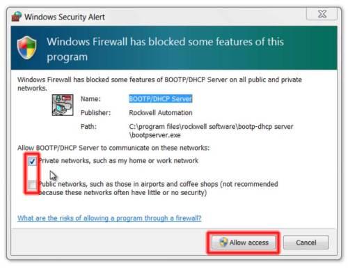 BootP CompactLogix 1 Firewallh