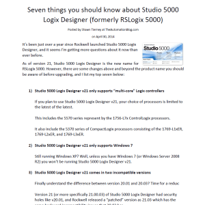 Article - Seven things you should know about Studio 5000 Logix Designer