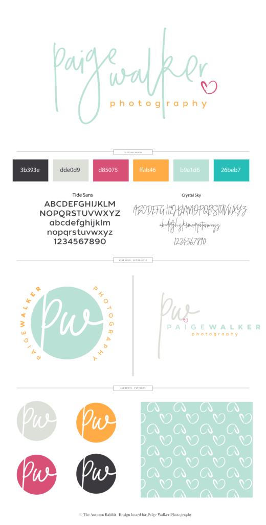 brand board for Paige Walker Photography