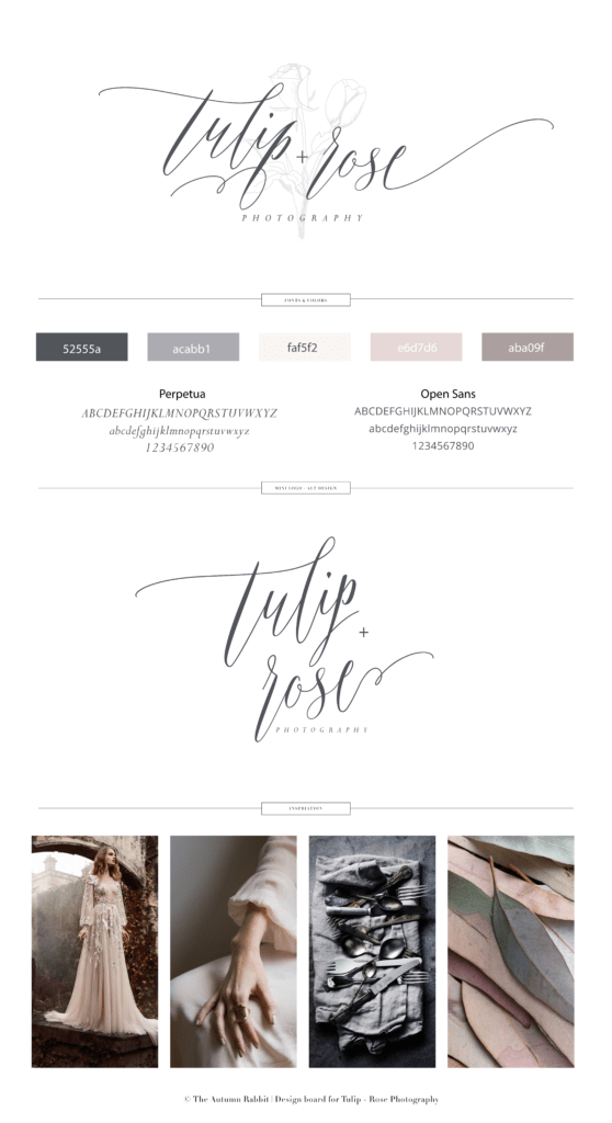 brand board for Tulip and Rose Wedding Photography