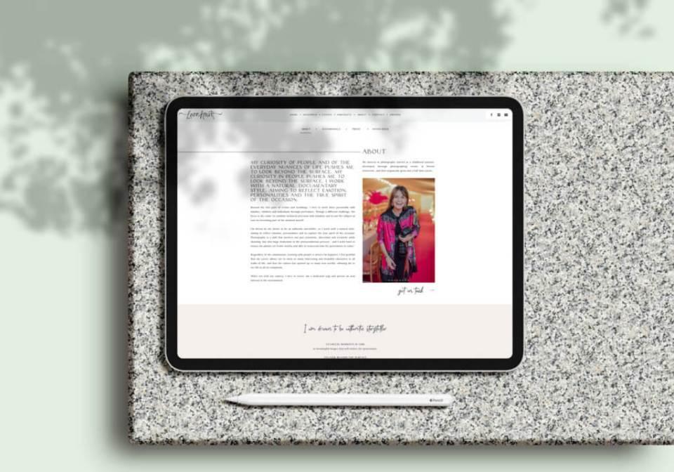 About Lara Arnott Photography - Website mock up