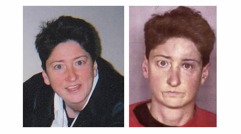 Kathy LaMadrid, in a photo and mug shot, before she went missing