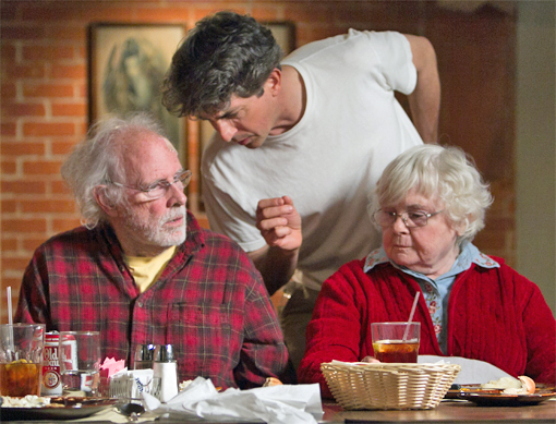 Dern and Squibb with Will Forte (standing)